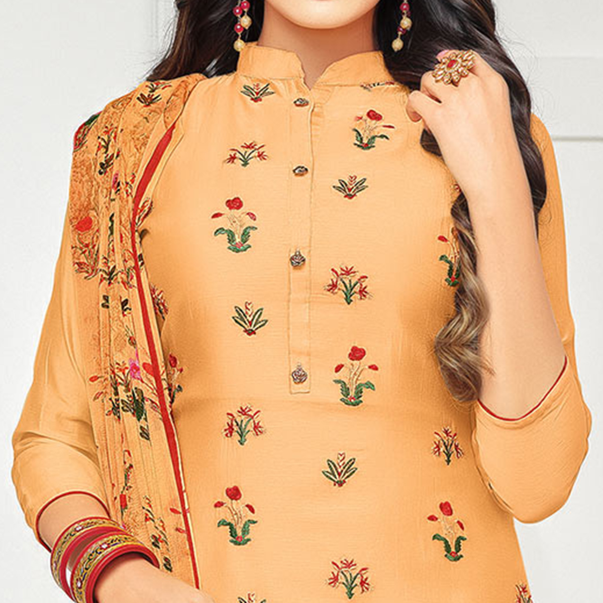 Gorgeous Peach Colored Casual Embroidered Chanderi Silk Suit