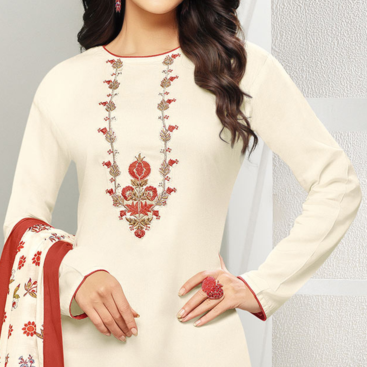Cool White Colored Casual Embroidered Chanderi Silk Suit