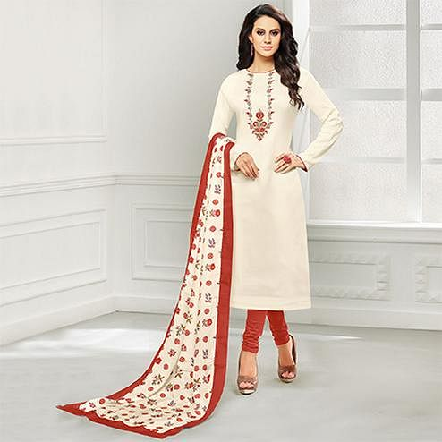 Cool White Colored Casual Embroidered Chanderi Suit