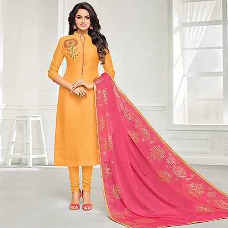 Delightful Mustard Yellow Colored Casual Embroidered Chanderi Suit