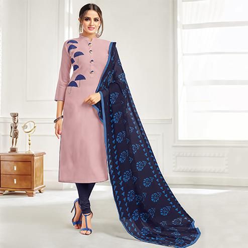 Ravishing Light Wine Colored Casual Embroidered Chanderi Suit