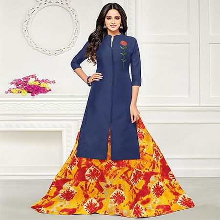 Desirable Navy Blue Colored Embroidered Lehenga Kameez