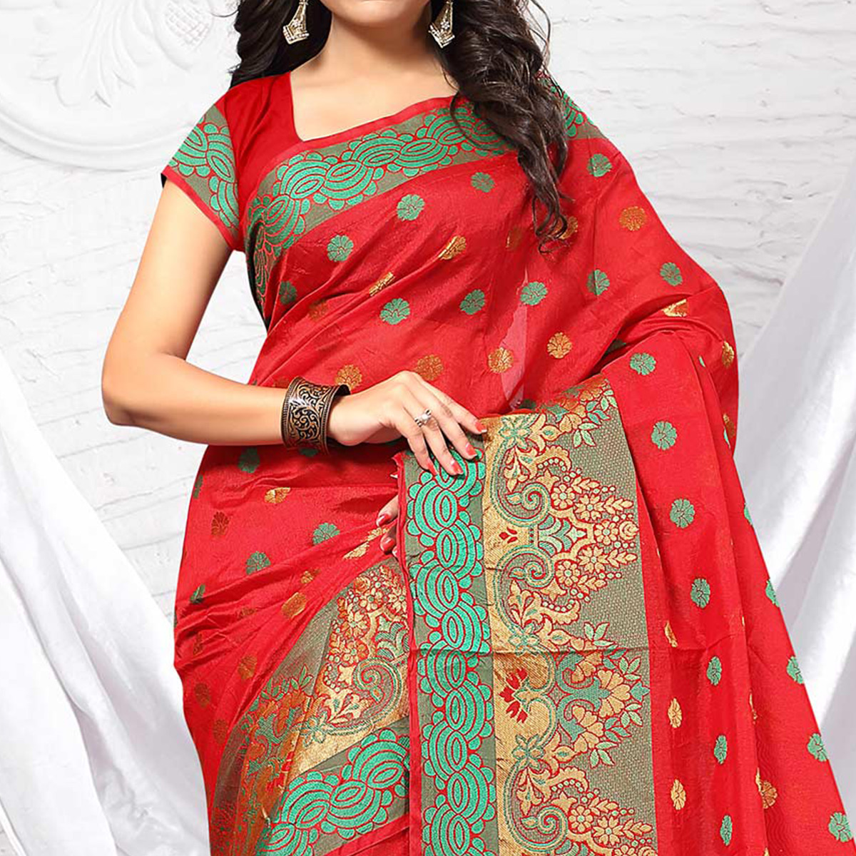 Lipstic Red Jacquard Silk Designer Saree