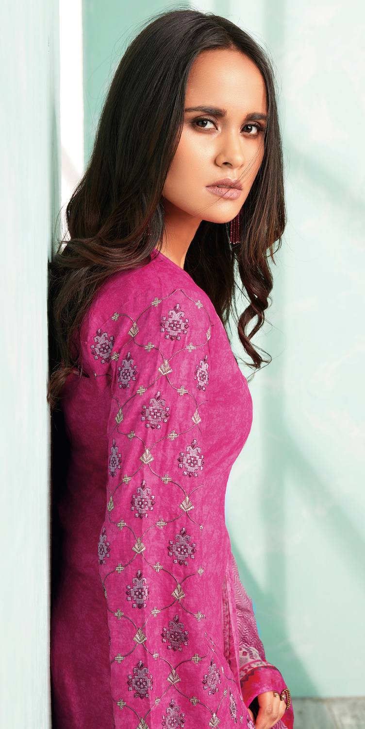 Pretty Pink Colored Casual Wear Printed Cotton Dress Material