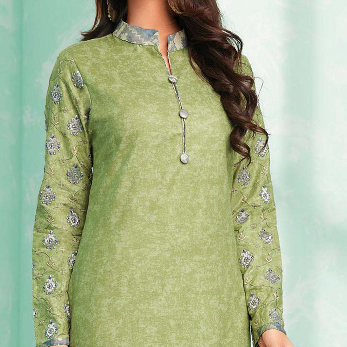 Glorious Green Colored Casual Wear Printed Cotton Dress Material