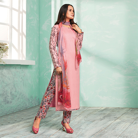 Lovely Pink Colored Casual Wear Printed Cotton Dress Material