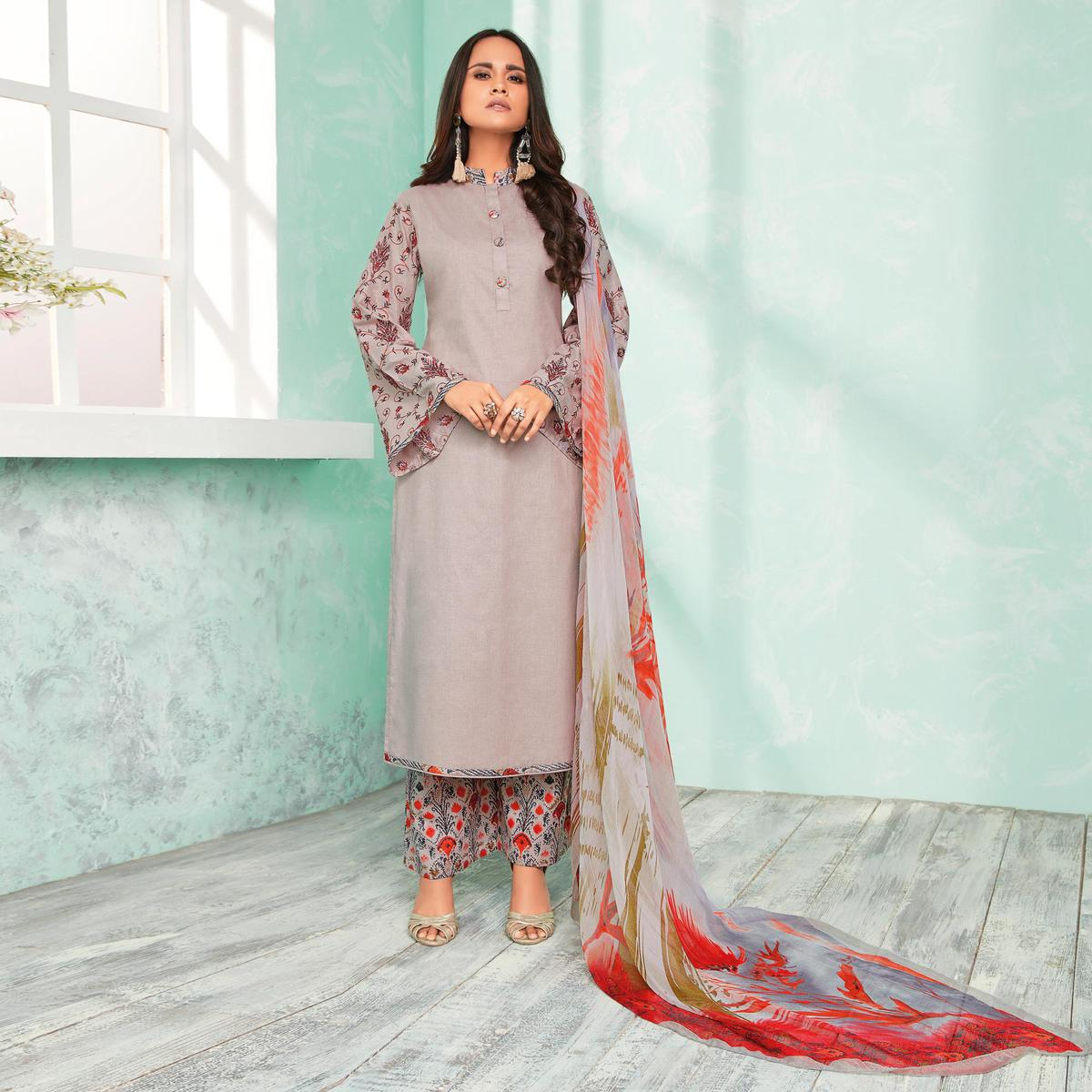 Graceful Grey Colored Casual Wear Printed Cotton Dress Material