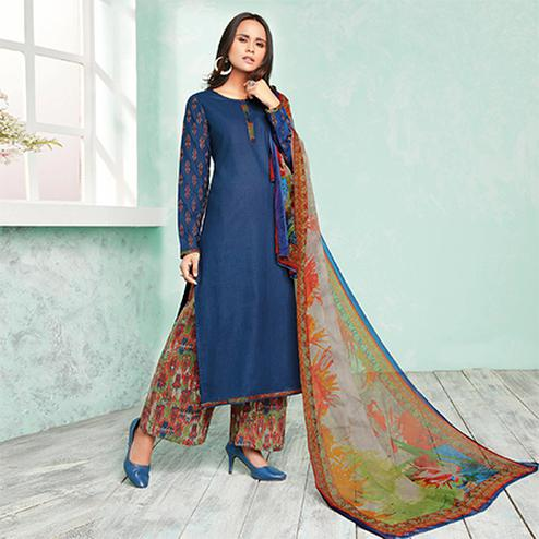 Beautiful Blue Colored Casual Wear Printed Cotton Dress Material
