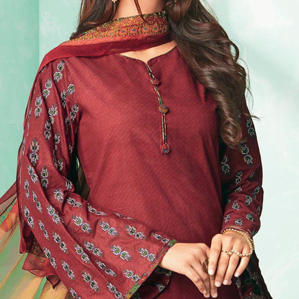 Stunning Brown Colored Casual Wear Printed Cotton Dress Material