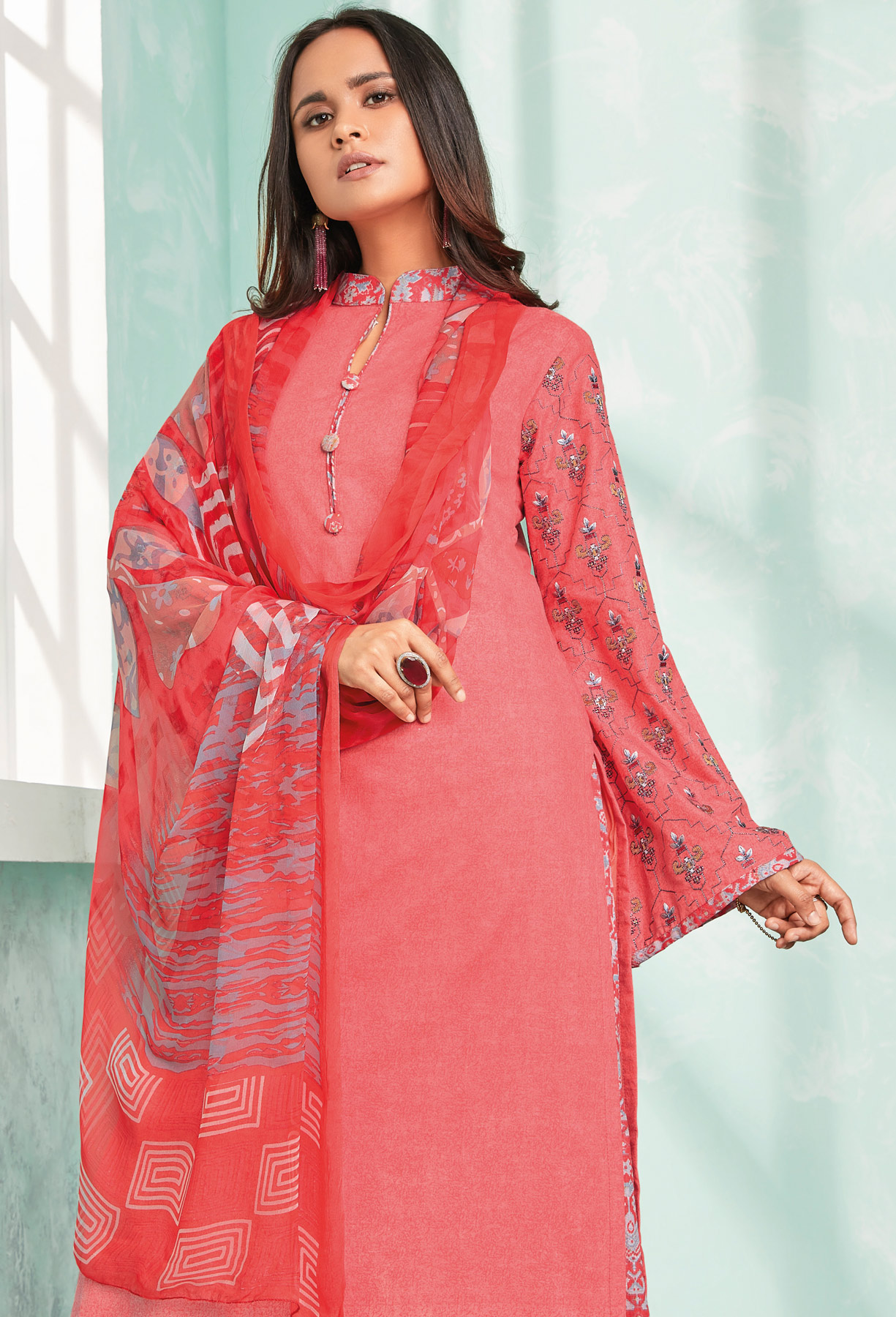 Ravishing Red Colored Casual Wear Printed Cotton Dress Material