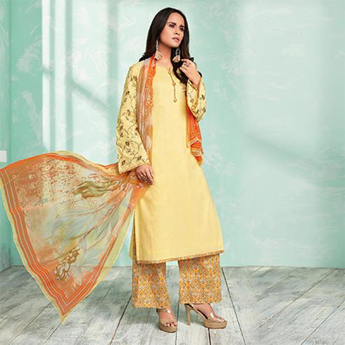 Precious Yellow Colored Casual Wear Printed Cotton Dress Material