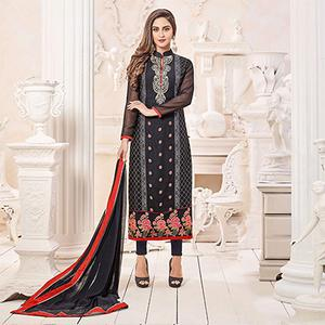 Impressive Black Designer Georgette Embroidered Churidar Suit