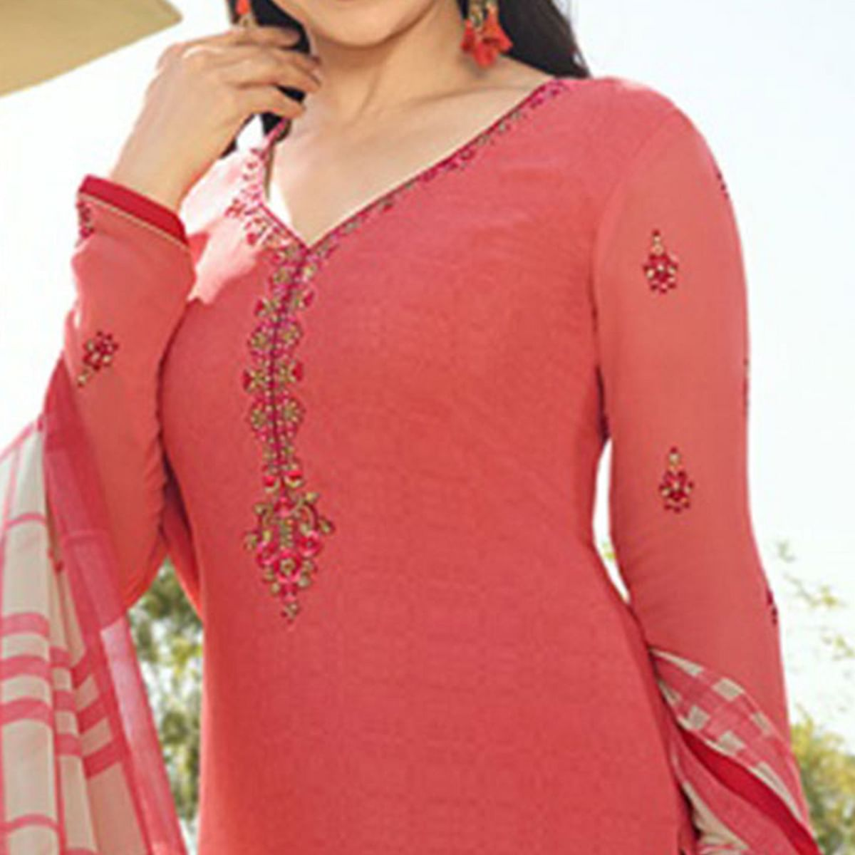 Attractive Peach Colored Floral Embroidered Work Royal Crepe Suit