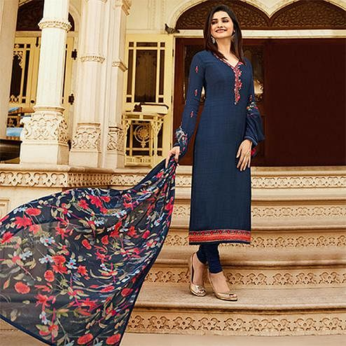 Beautiful Navy Blue Colored Floral Embroidered Work Royal Crepe Suit