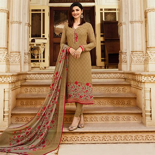 Adorable Beige Colored Floral Embroidered Work Royal Crepe Suit