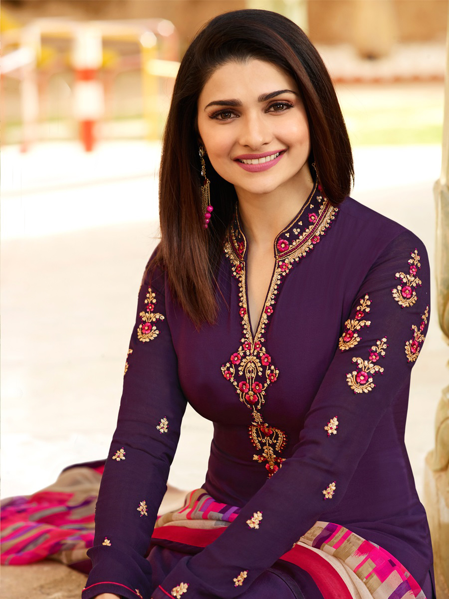 Classy Purple Colored Floral Embroidered Work Royal Crepe Suit
