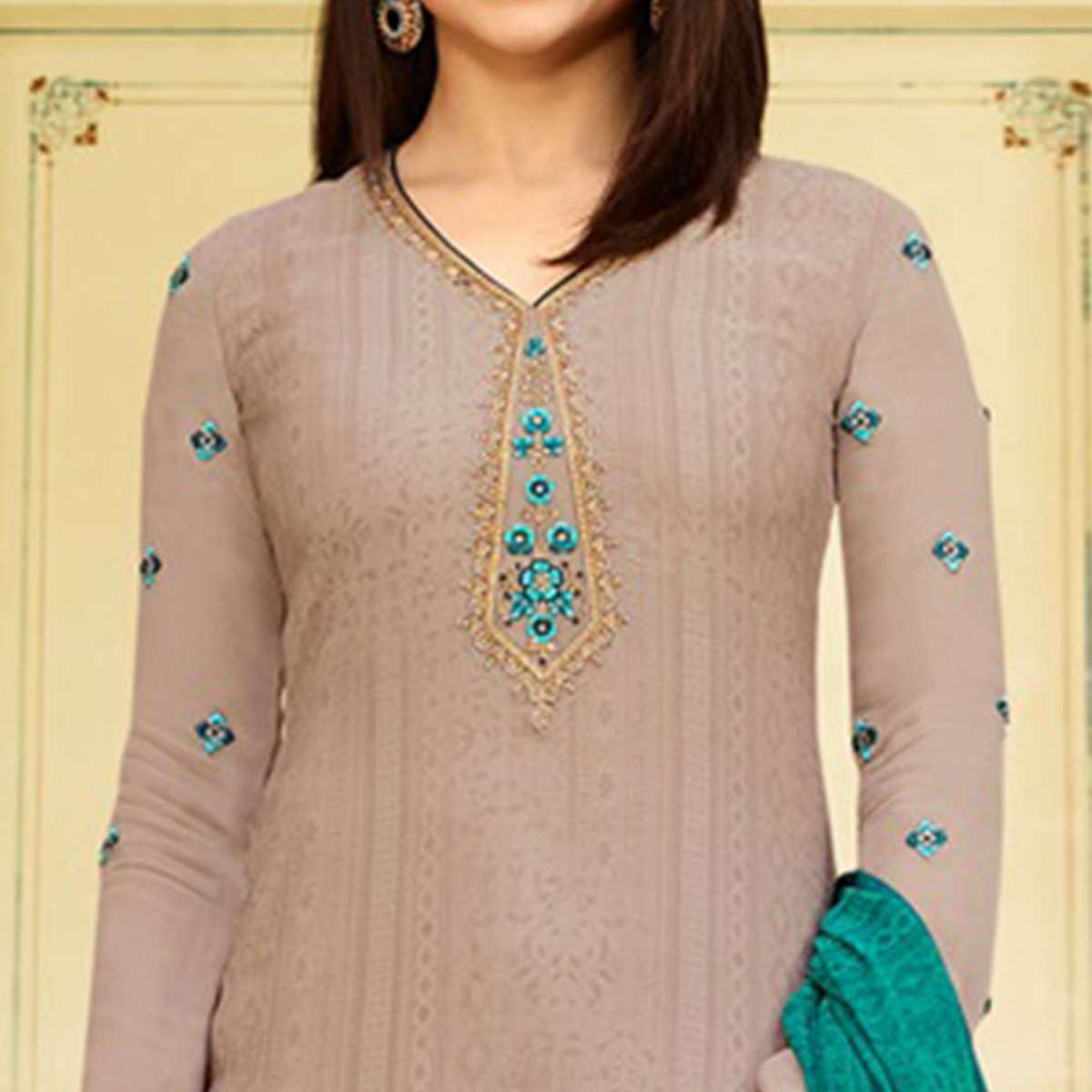 Graceful Grey Colored Floral Embroidered Work Royal Crepe Suit