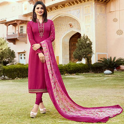 Charming Magenta Pink Colored Floral Embroidered Work Royal Crepe Suit