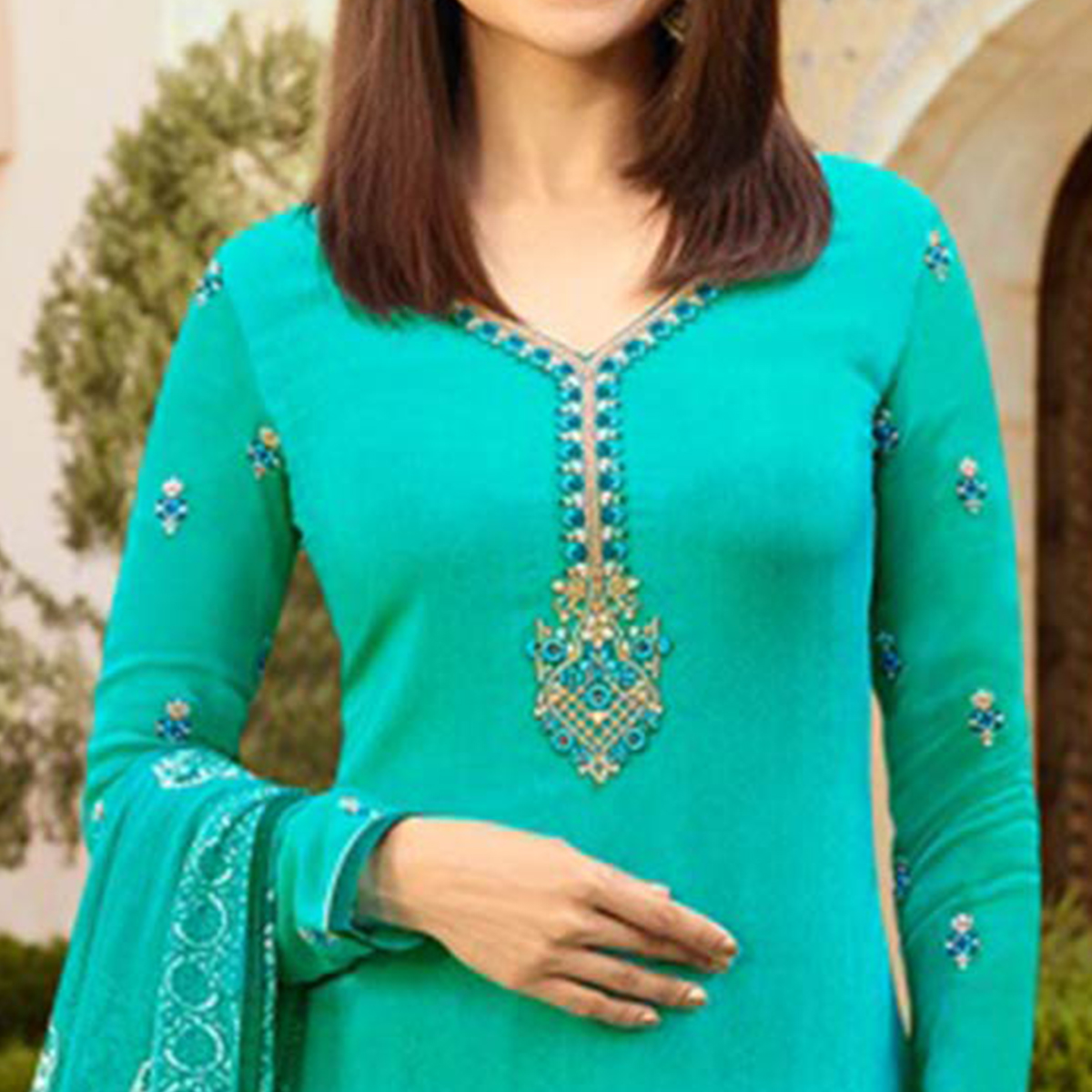 Delightful Cyan Colored Floral Embroidered Work Royal Crepe Suit