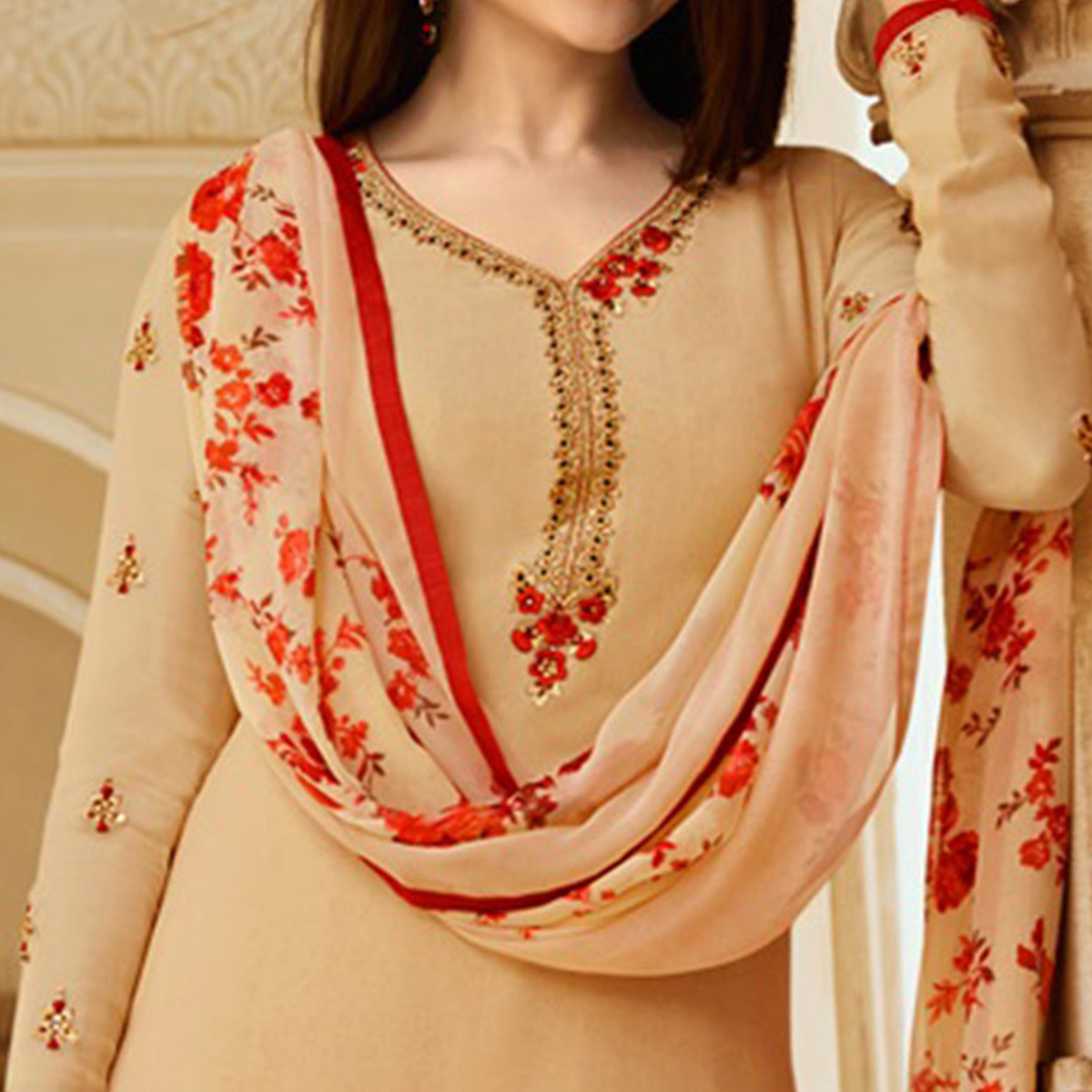 Stunning Beige Colored Floral Embroidered Work Royal Crepe Suit