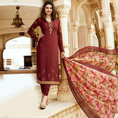 Blooming maroon Colored Floral Embroidered Work Royal Crepe Suit