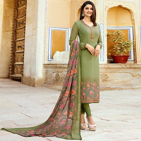 Ravishing Olive Green Colored Floral Embroidered Work Royal Crepe Suit
