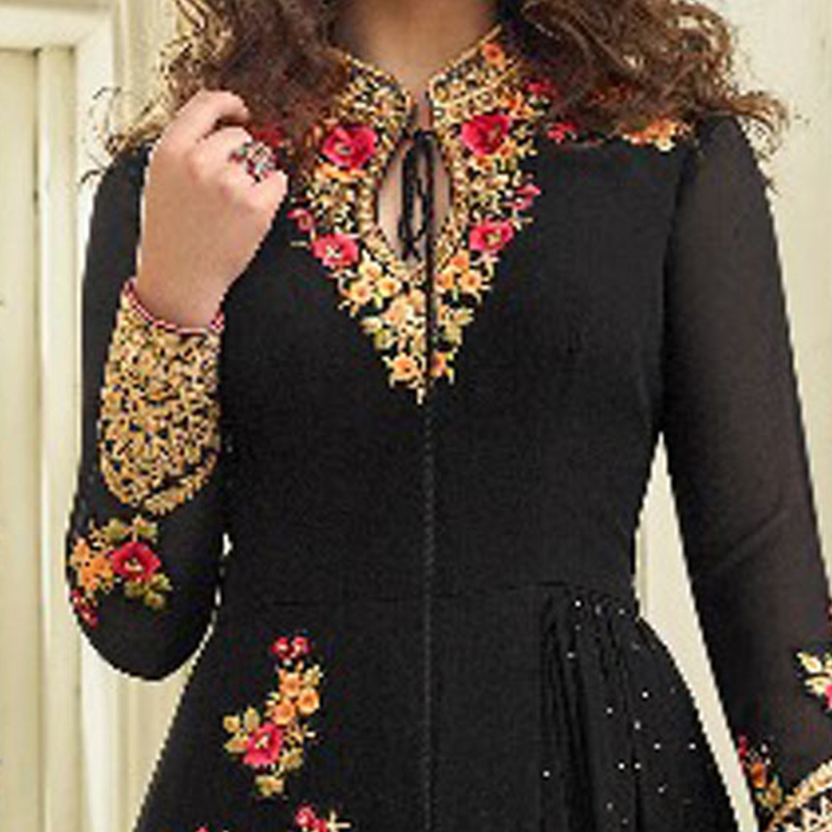 Irresistible Black Colored Partywear Designer Embroidered Georgette Abaya Style Anarkali Suit