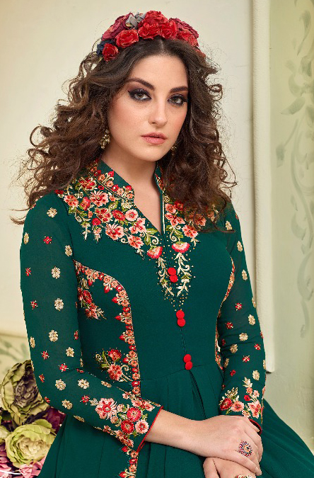Hypnotic Rama Colored Partywear Designer Embroidered Georgette Abaya Style Anarkali Suit