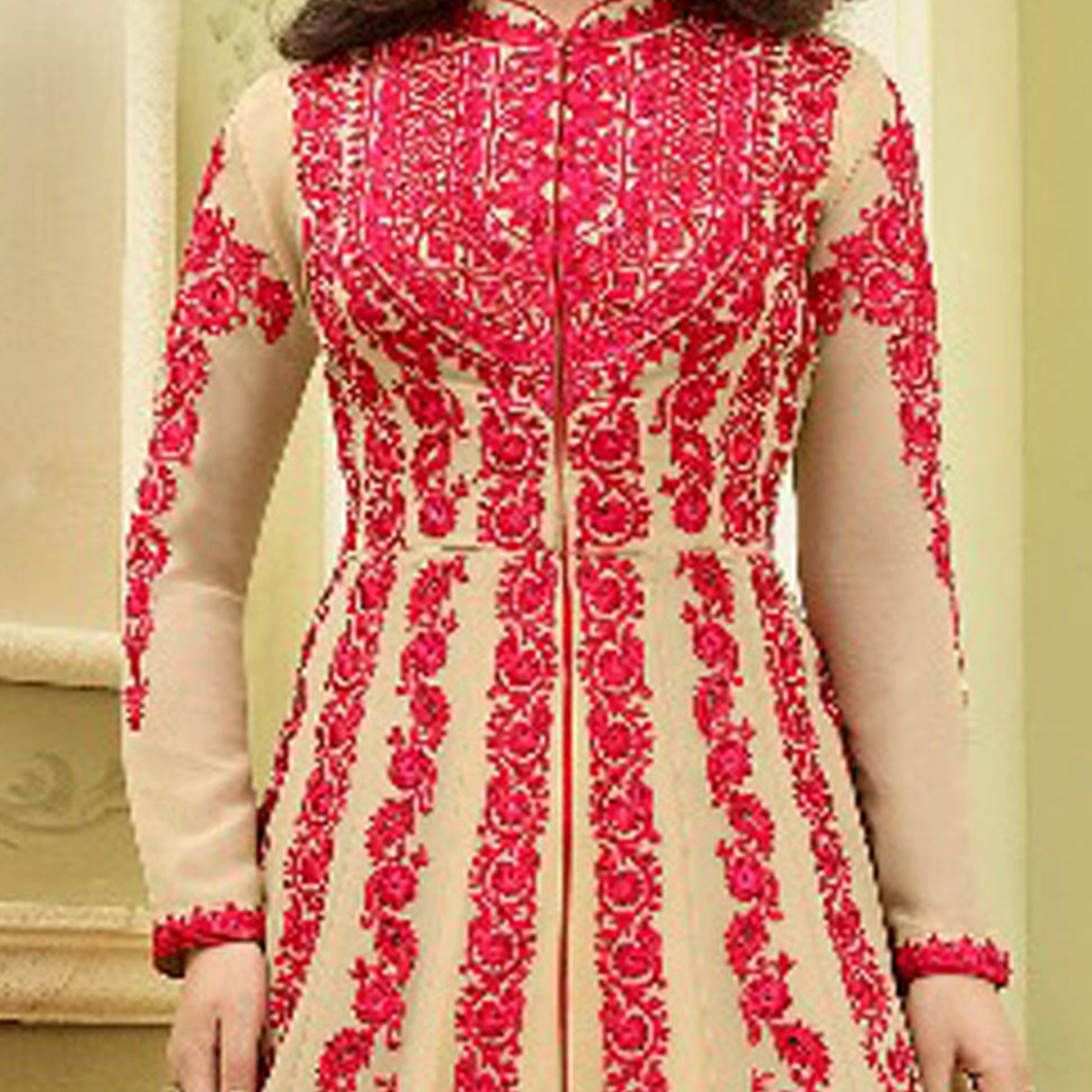 Attractive Beige Colored Partywear Designer Embroidered Georgette Abaya Style Anarkali Suit