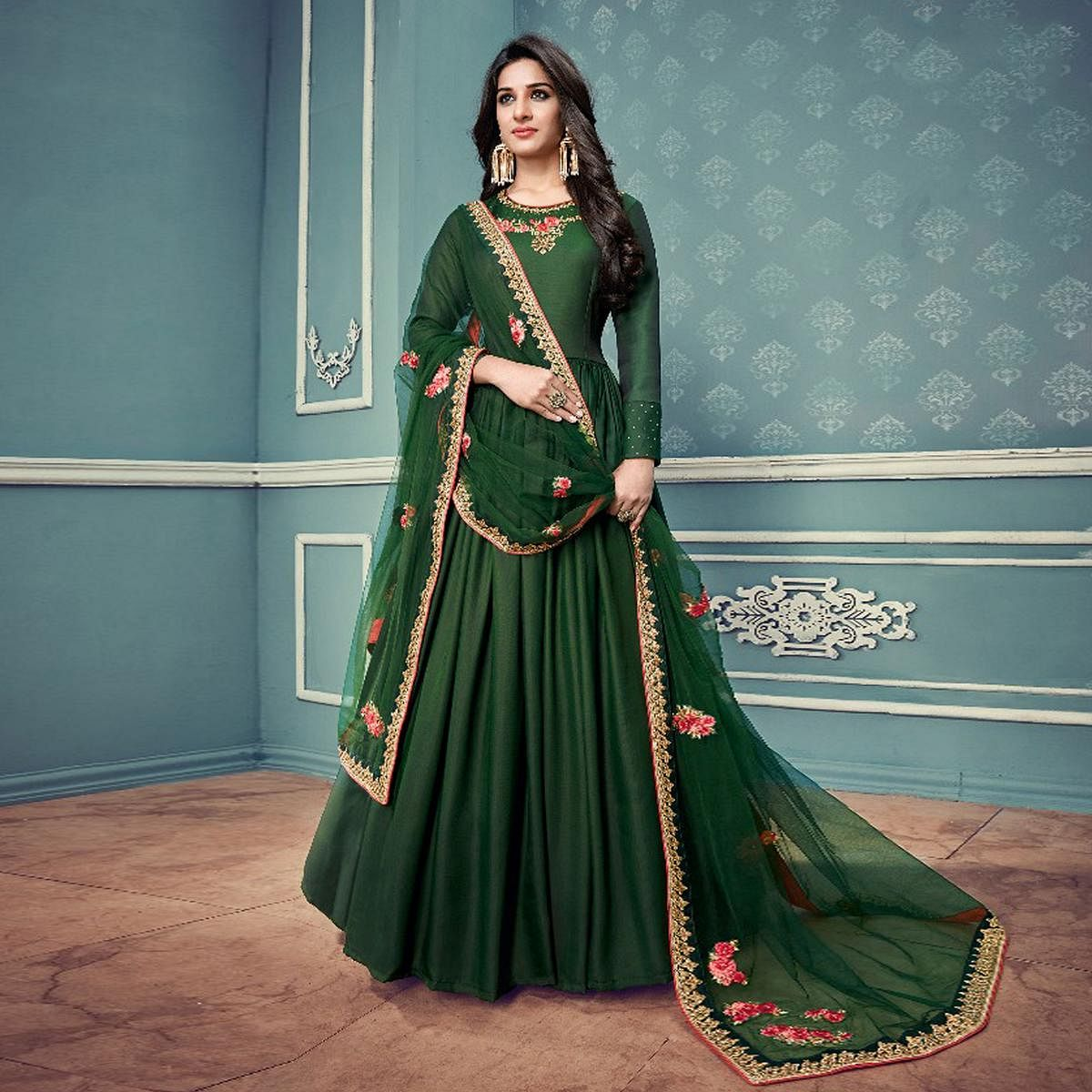 Mesmerising Green Colored Partywear Designer Embroidered Silk Anarkali Suit