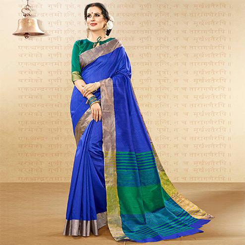 Refreshing Royal Blue Colored Festive Wear Woven Handloom Cotton Silk Saree