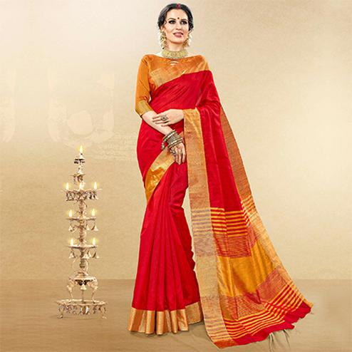 Impressive Red Colored Festive Wear Woven Handloom Cotton Silk Saree