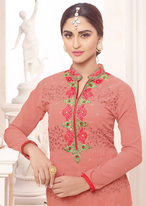 Eye-Catchy Gajri Designer Georgette Embroidered Churidar Suit