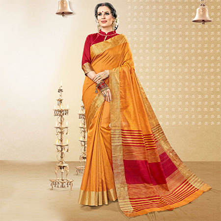 Desiring Yellow Colored Festive Wear Woven Handloom Cotton Silk Saree