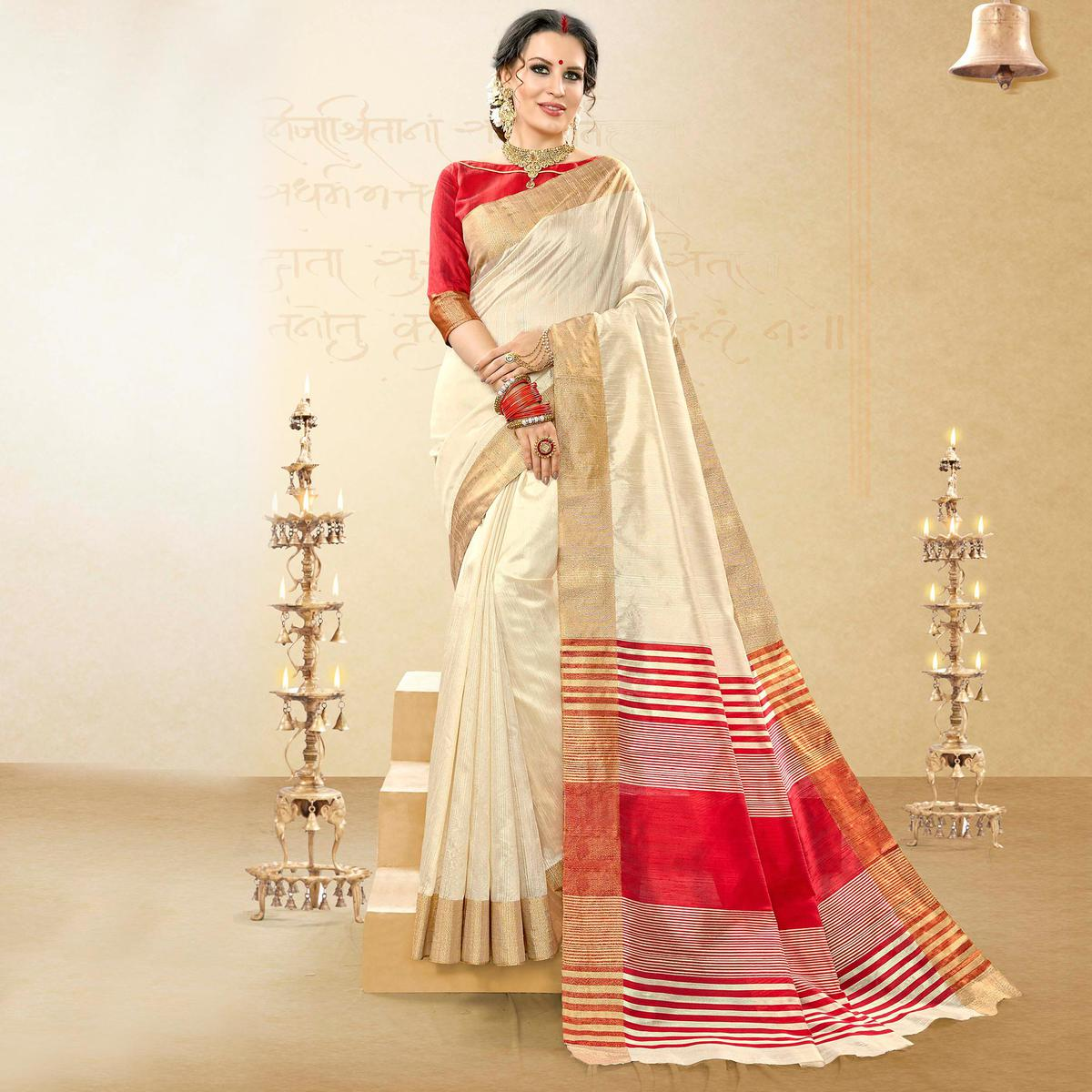 Pleasance Off-White Colored Festive Wear Woven Handloom Cotton Silk Saree