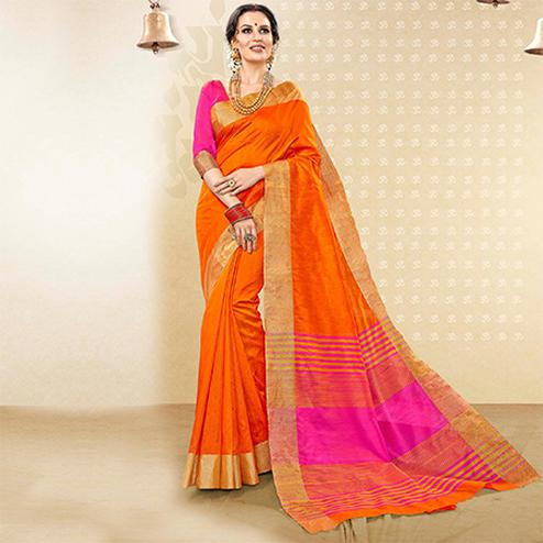 Ravishing Orange Colored Festive Wear Woven Handloom Cotton Silk Saree