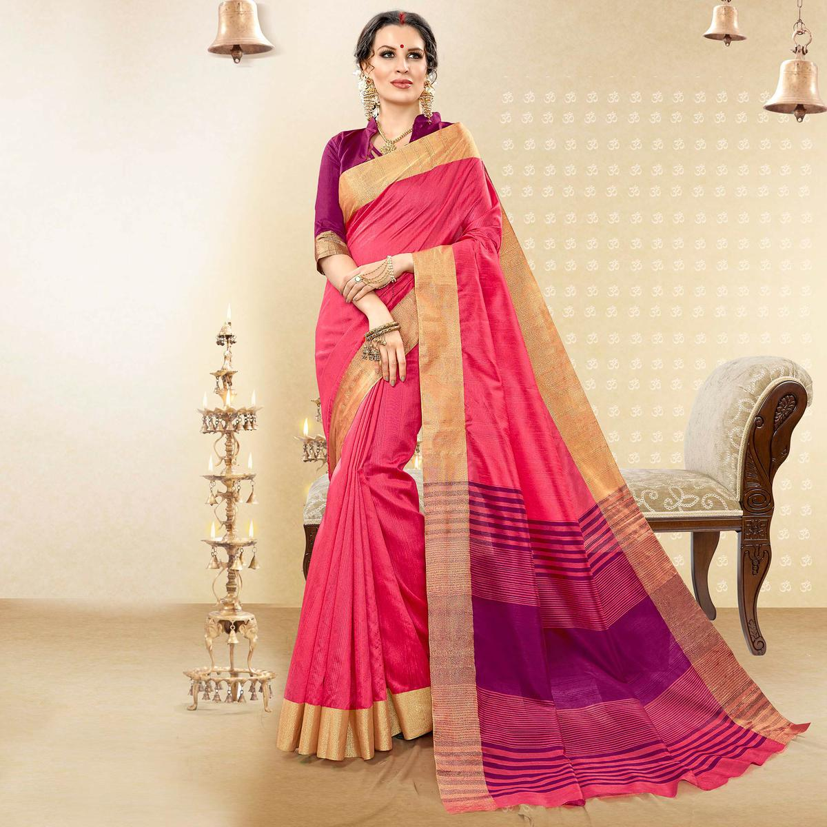 Flattering Fuchsia Pink Colored Festive Wear Woven Handloom Cotton Silk Saree