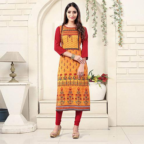 Orange Colored Casual Wear Digital Printed American Crepe Kurti