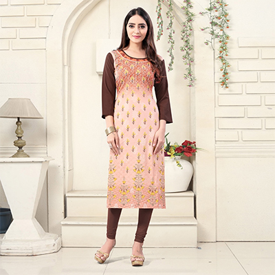 Peach Colored Casual Wear Digital Printed Crepe Kurti