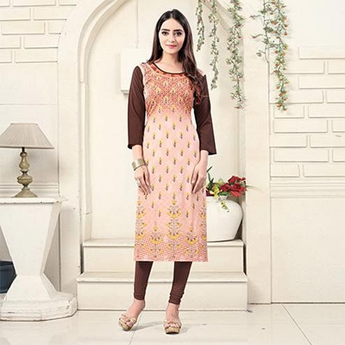 Peach Colored Casual Wear Digital Printed American Crepe Kurti