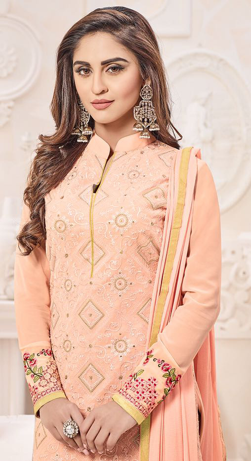 Precious Peach Designer Georgette Embroidered Churidar Suit