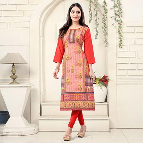 Red Colored Casual Wear Digital Printed American Crepe Kurti