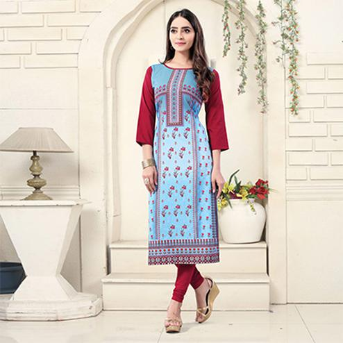 Sky Blue Colored Casual Wear Digital Printed American Crepe Kurti