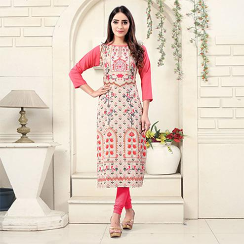 Off White Colored Casual Wear Digital Printed Crepe Kurti