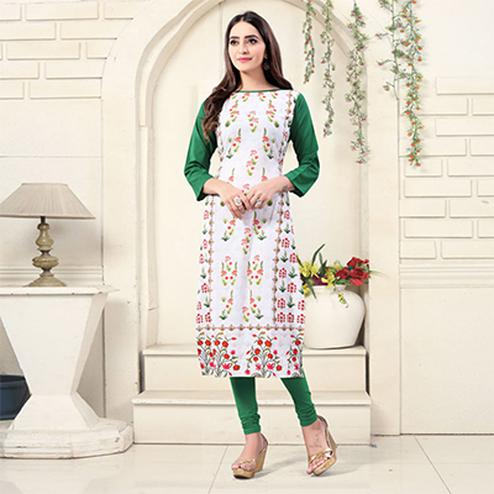 White Colored Casual Wear Digital Printed American Crepe Kurti