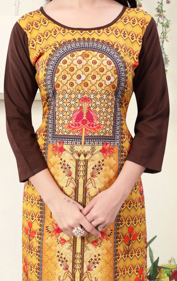Mustard Yellow Colored Casual Wear Digital Printed American Crepe Kurti