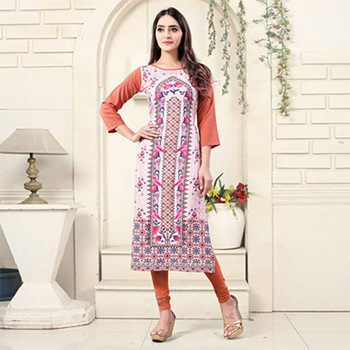 Light Pink Colored Casual Wear Digital Printed American Crepe Kurti