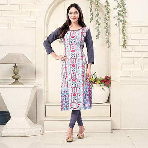 Baby Blue Colored Casual Wear Digital Printed American Crepe Kurti