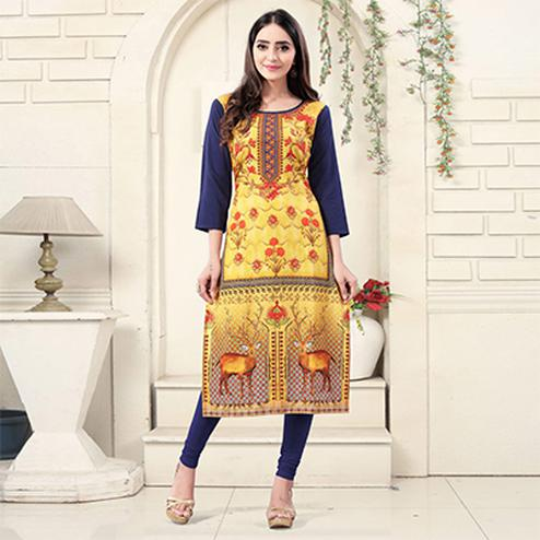 Yellow Colored Casual Wear Digital Printed Crepe Kurti
