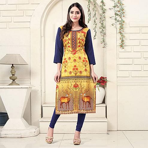 Yellow Colored Casual Wear Digital Printed American Crepe Kurti